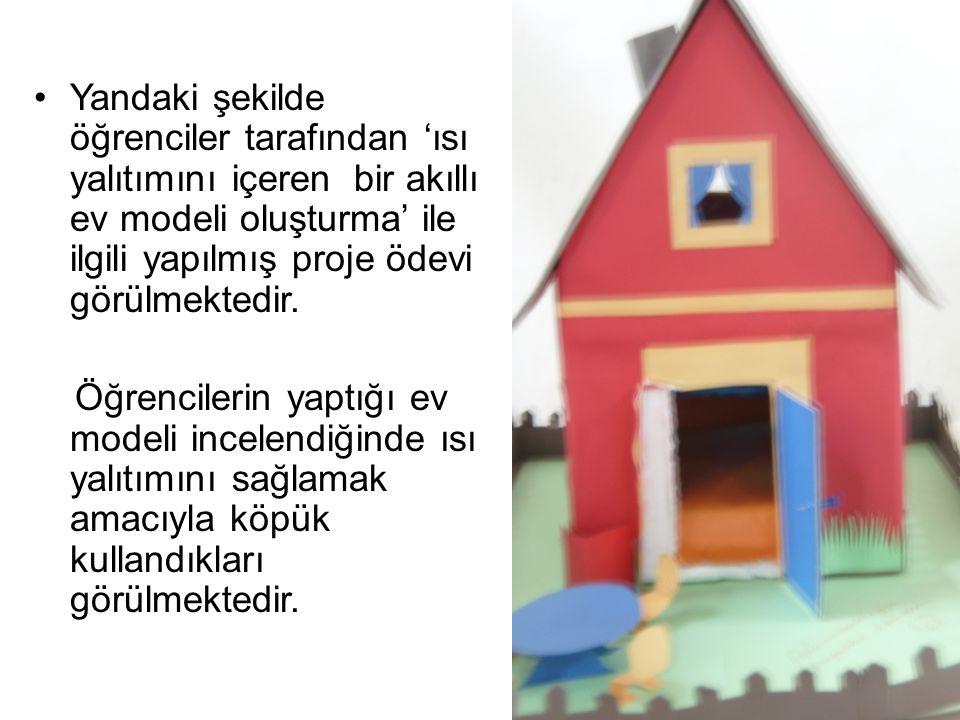 Yandaki şekilde öğrenciler tarafından 'ısı yalıtımını içeren bir akıllı ev modeli oluşturma' ile ilgili yapılmış proje ödevi görülmektedir. Öğrenciler