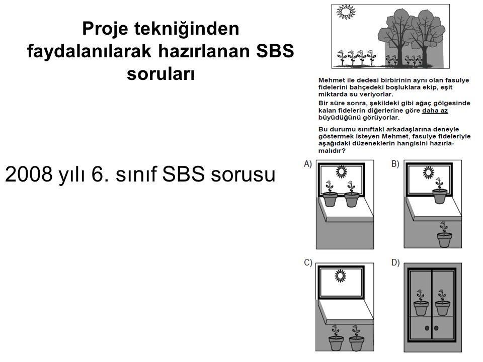 Proje tekniğinden faydalanılarak hazırlanan SBS soruları 2008 yılı 6. sınıf SBS sorusu
