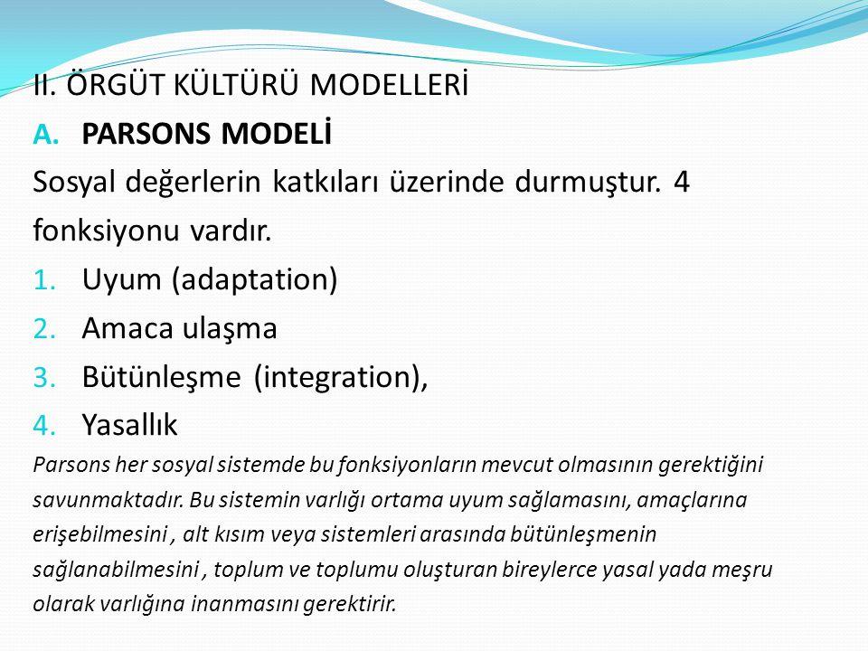 II. ÖRGÜT KÜLTÜRÜ MODELLERİ A. PARSONS MODELİ Sosyal değerlerin katkıları üzerinde durmuştur. 4 fonksiyonu vardır. 1. Uyum (adaptation) 2. Amaca ulaşm