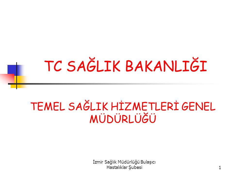 İzmir Sağlık Müdürlüğü Bulaşıcı Hastalıklar Şubesi1 TC SAĞLIK BAKANLIĞI TEMEL SAĞLIK HİZMETLERİ GENEL MÜDÜRLÜĞÜ
