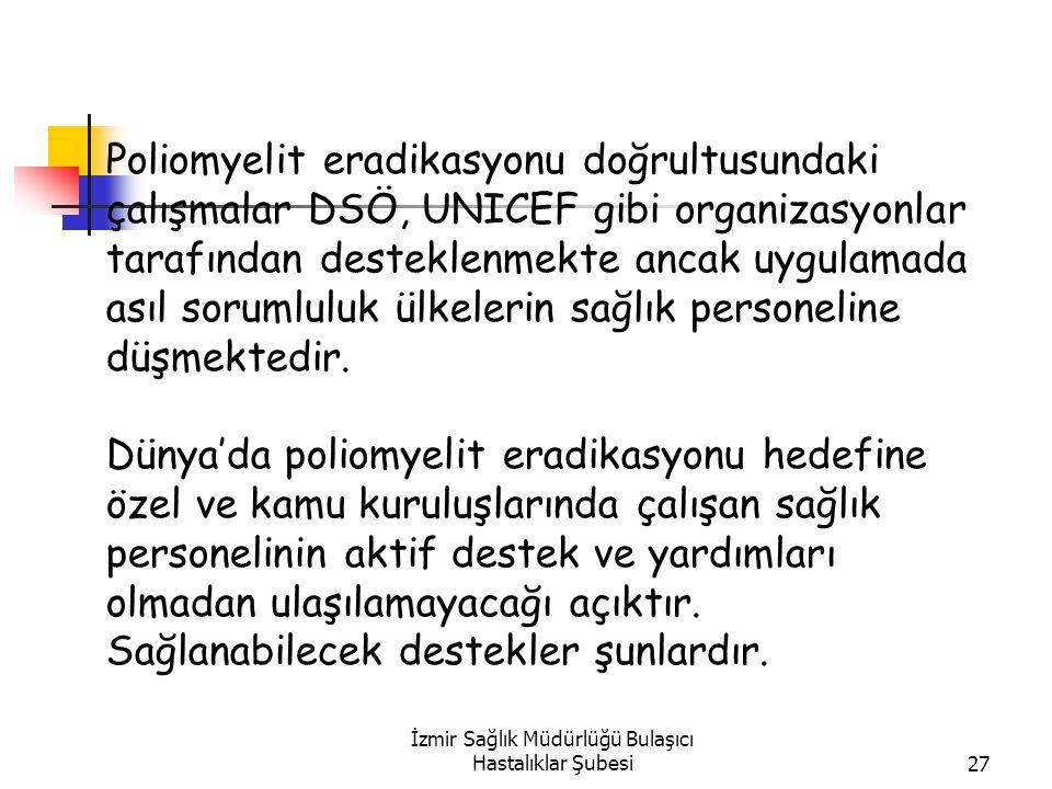İzmir Sağlık Müdürlüğü Bulaşıcı Hastalıklar Şubesi27 Poliomyelit eradikasyonu doğrultusundaki çalışmalar DSÖ, UNICEF gibi organizasyonlar tarafından desteklenmekte ancak uygulamada asıl sorumluluk ülkelerin sağlık personeline düşmektedir.