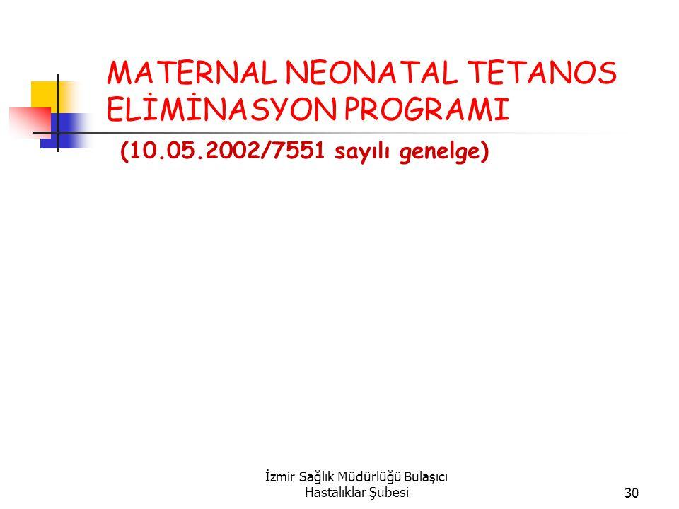 İzmir Sağlık Müdürlüğü Bulaşıcı Hastalıklar Şubesi30 MATERNAL NEONATAL TETANOS ELİMİNASYON PROGRAMI (10.05.2002/7551 sayılı genelge)