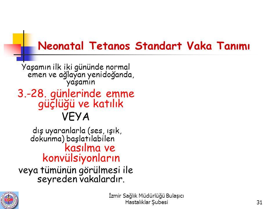 İzmir Sağlık Müdürlüğü Bulaşıcı Hastalıklar Şubesi31 Neonatal Tetanos Standart Vaka Tanımı Yaşamın ilk iki gününde normal emen ve ağlayan yenidoğanda, yaşamın 3.-28.