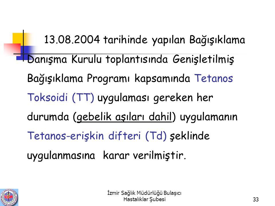 İzmir Sağlık Müdürlüğü Bulaşıcı Hastalıklar Şubesi33 13.08.2004 tarihinde yapılan Bağışıklama Danışma Kurulu toplantısında Genişletilmiş Bağışıklama Programı kapsamında Tetanos Toksoidi (TT) uygulaması gereken her durumda (gebelik aşıları dahil) uygulamanın Tetanos-erişkin difteri (Td) şeklinde uygulanmasına karar verilmiştir.
