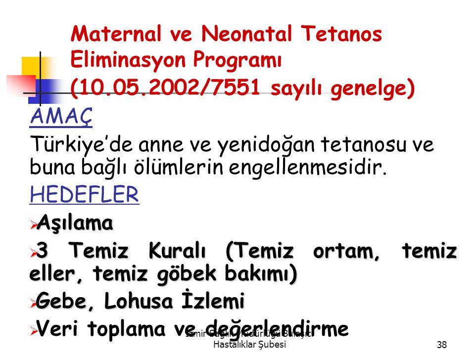 İzmir Sağlık Müdürlüğü Bulaşıcı Hastalıklar Şubesi38 Maternal ve Neonatal Tetanos Eliminasyon Programı (10.05.2002/7551 sayılı genelge) AMAÇ Türkiye'de anne ve yenidoğan tetanosu ve buna bağlı ölümlerin engellenmesidir.