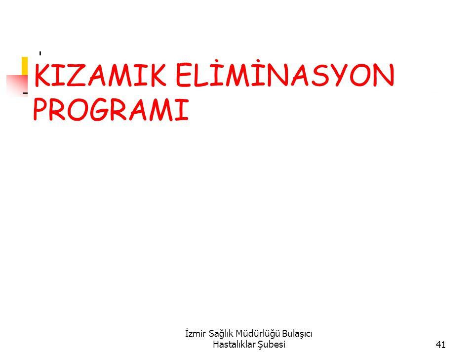 İzmir Sağlık Müdürlüğü Bulaşıcı Hastalıklar Şubesi41 KIZAMIK ELİMİNASYON PROGRAMI
