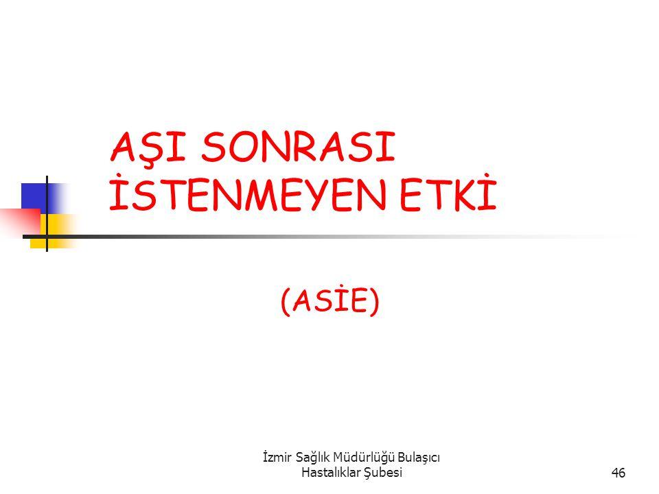 İzmir Sağlık Müdürlüğü Bulaşıcı Hastalıklar Şubesi46 AŞI SONRASI İSTENMEYEN ETKİ (ASİE)