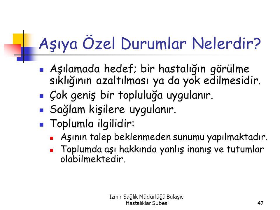 İzmir Sağlık Müdürlüğü Bulaşıcı Hastalıklar Şubesi47 Aşıya Özel Durumlar Nelerdir.