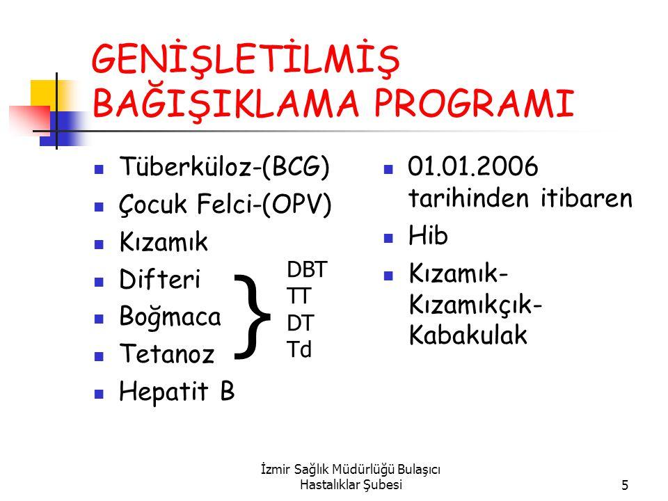İzmir Sağlık Müdürlüğü Bulaşıcı Hastalıklar Şubesi5 GENİŞLETİLMİŞ BAĞIŞIKLAMA PROGRAMI Tüberküloz-(BCG) Çocuk Felci-(OPV) Kızamık Difteri Boğmaca Tetanoz Hepatit B 01.01.2006 tarihinden itibaren Hib Kızamık- Kızamıkçık- Kabakulak DBT TT DT Td }