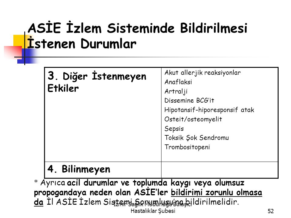 İzmir Sağlık Müdürlüğü Bulaşıcı Hastalıklar Şubesi52 ASİE İzlem Sisteminde Bildirilmesi İstenen Durumlar 3.