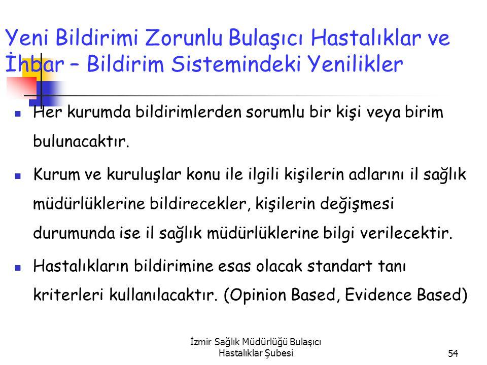 İzmir Sağlık Müdürlüğü Bulaşıcı Hastalıklar Şubesi54 Yeni Bildirimi Zorunlu Bulaşıcı Hastalıklar ve İhbar – Bildirim Sistemindeki Yenilikler Her kurumda bildirimlerden sorumlu bir kişi veya birim bulunacaktır.