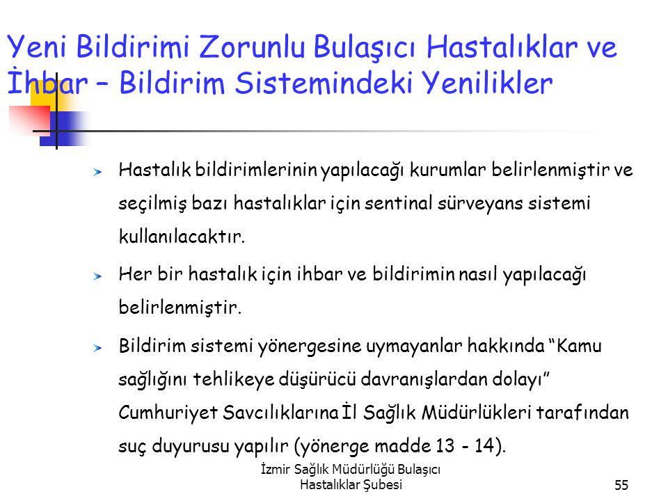 İzmir Sağlık Müdürlüğü Bulaşıcı Hastalıklar Şubesi55 Yeni Bildirimi Zorunlu Bulaşıcı Hastalıklar ve İhbar – Bildirim Sistemindeki Yenilikler Hastalık bildirimlerinin yapılacağı kurumlar belirlenmiştir ve seçilmiş bazı hastalıklar için sentinal sürveyans sistemi kullanılacaktır.