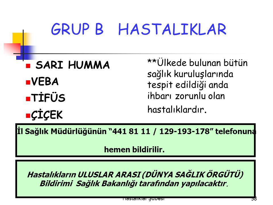 İzmir Sağlık Müdürlüğü Bulaşıcı Hastalıklar Şubesi58 GRUP B HASTALIKLAR SARI HUMMA VEBA TİFÜS ÇİÇEK **Ülkede bulunan bütün sağlık kuruluşlarında tespit edildiği anda ihbarı zorunlu olan hastalıklardır.