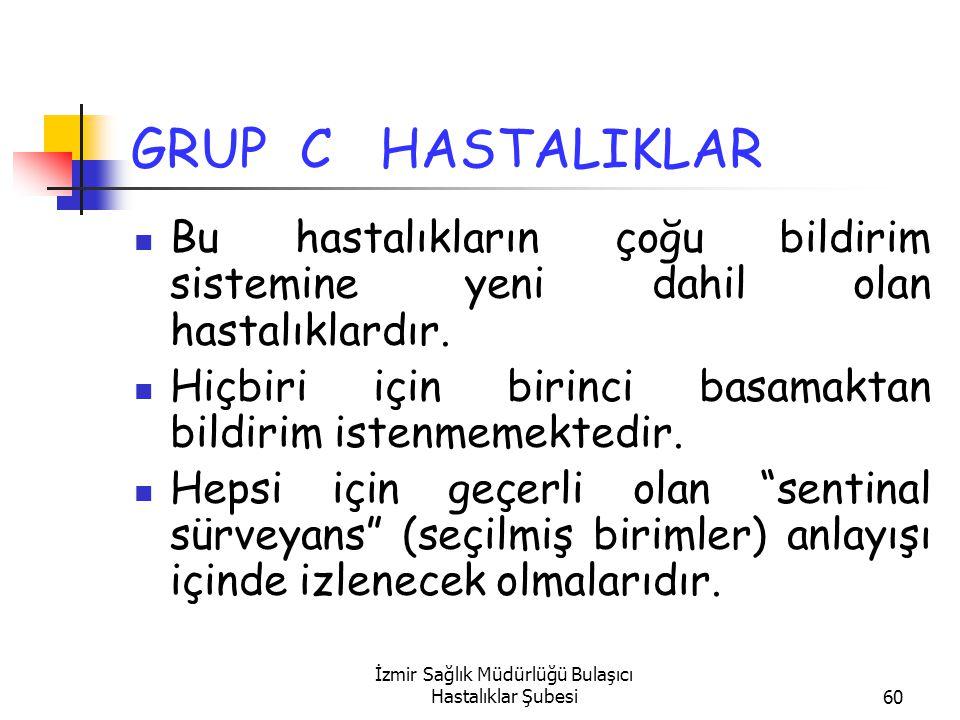 İzmir Sağlık Müdürlüğü Bulaşıcı Hastalıklar Şubesi60 GRUP C HASTALIKLAR Bu hastalıkların çoğu bildirim sistemine yeni dahil olan hastalıklardır.