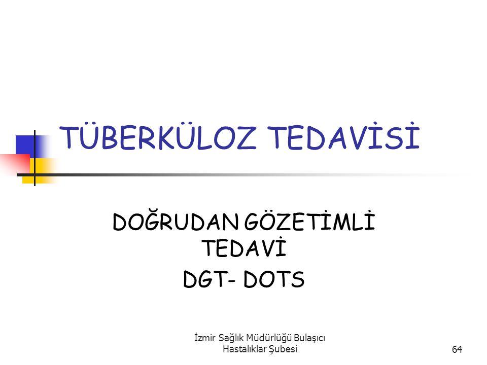 İzmir Sağlık Müdürlüğü Bulaşıcı Hastalıklar Şubesi64 TÜBERKÜLOZ TEDAVİSİ DOĞRUDAN GÖZETİMLİ TEDAVİ DGT- DOTS