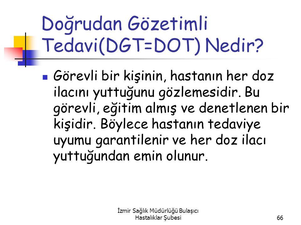 İzmir Sağlık Müdürlüğü Bulaşıcı Hastalıklar Şubesi66 Doğrudan Gözetimli Tedavi(DGT=DOT) Nedir.