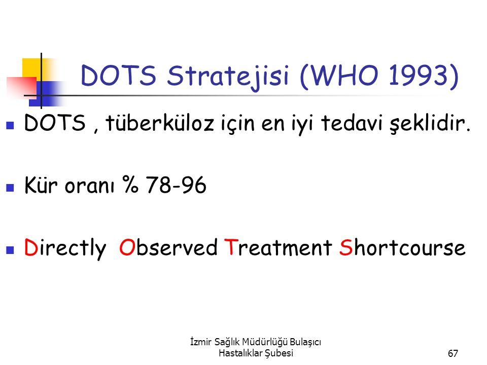 İzmir Sağlık Müdürlüğü Bulaşıcı Hastalıklar Şubesi67 DOTS Stratejisi (WHO 1993) DOTS, tüberküloz için en iyi tedavi şeklidir.