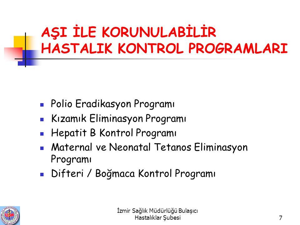 İzmir Sağlık Müdürlüğü Bulaşıcı Hastalıklar Şubesi7 AŞI İLE KORUNULABİLİR HASTALIK KONTROL PROGRAMLARI Polio Eradikasyon Programı Kızamık Eliminasyon Programı Hepatit B Kontrol Programı Maternal ve Neonatal Tetanos Eliminasyon Programı Difteri / Boğmaca Kontrol Programı