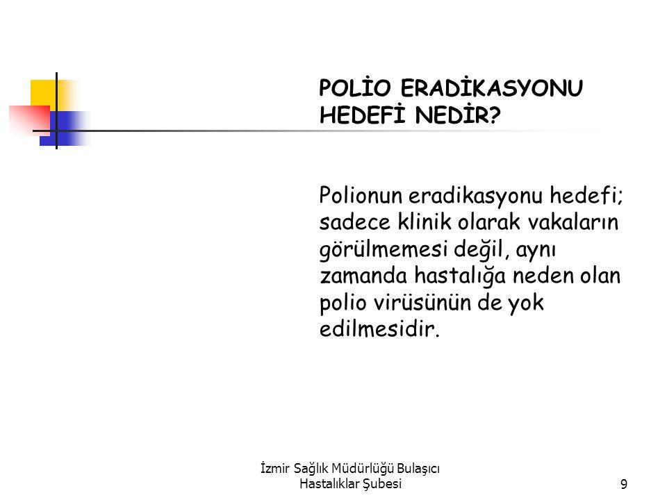 İzmir Sağlık Müdürlüğü Bulaşıcı Hastalıklar Şubesi9 POLİO ERADİKASYONU HEDEFİ NEDİR.