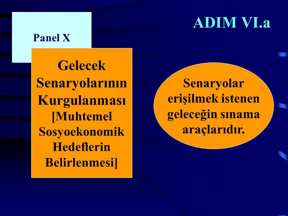 ADIM VI.a Panel X Gelecek Senaryolarının Kurgulanması [Muhtemel Sosyoekonomik Hedeflerin Belirlenmesi] Senaryolar erişilmek istenen geleceğin sınama araçlarıdır.