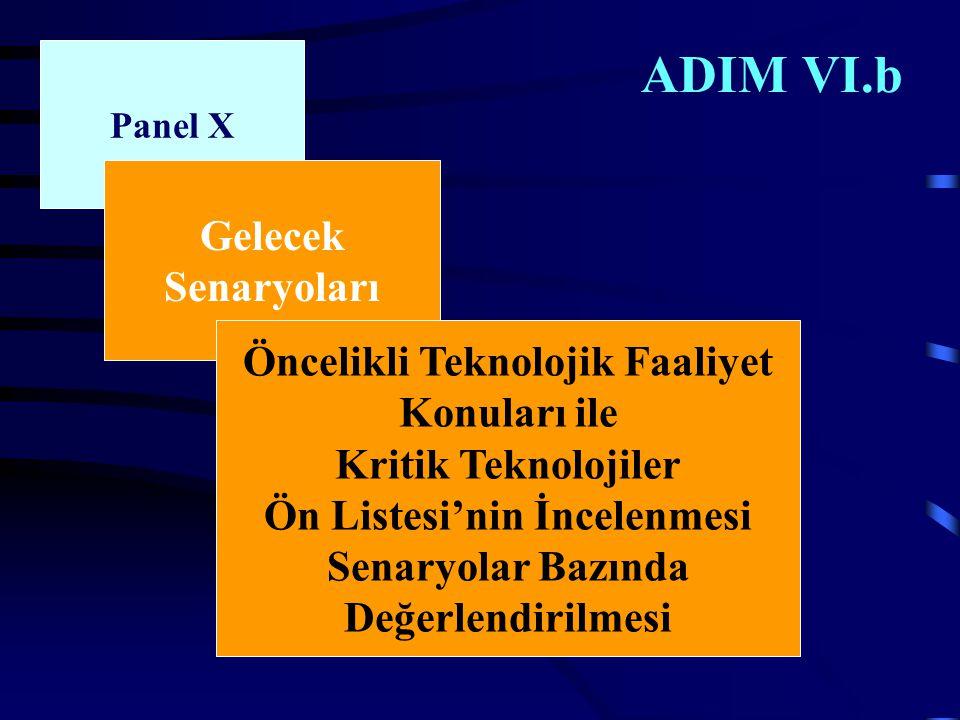 ADIM VI.b Panel X Gelecek Senaryoları Öncelikli Teknolojik Faaliyet Konuları ile Kritik Teknolojiler Ön Listesi'nin İncelenmesi Senaryolar Bazında Değerlendirilmesi