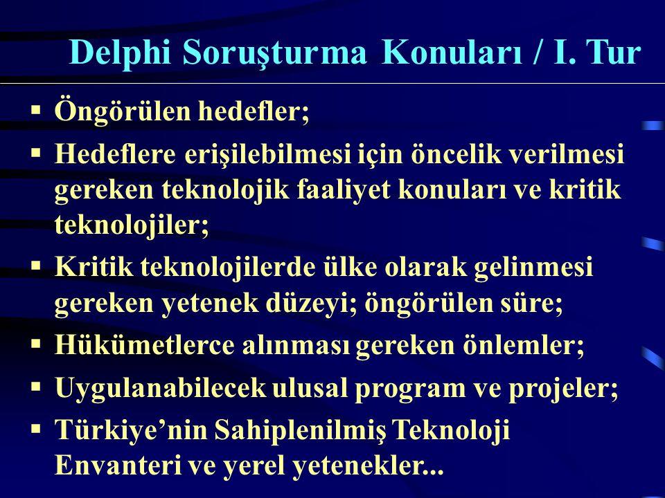  Öngörülen hedefler;  Hedeflere erişilebilmesi için öncelik verilmesi gereken teknolojik faaliyet konuları ve kritik teknolojiler;  Kritik teknolojilerde ülke olarak gelinmesi gereken yetenek düzeyi; öngörülen süre;  Hükümetlerce alınması gereken önlemler;  Uygulanabilecek ulusal program ve projeler;  Türkiye'nin Sahiplenilmiş Teknoloji Envanteri ve yerel yetenekler...