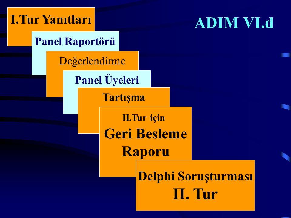 ADIM VI.d I.Tur Yanıtları Panel Raportörü Değerlendirme Panel Üyeleri Tartışma II.Tur için Geri Besleme Raporu Delphi Soruşturması II.