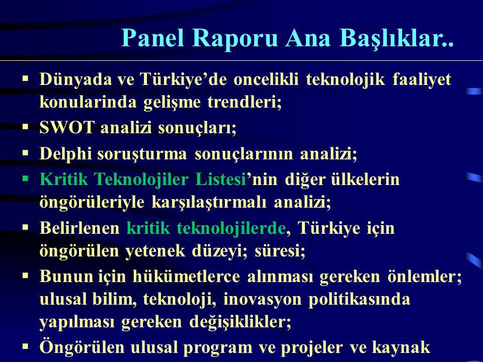  Dünyada ve Türkiye'de oncelikli teknolojik faaliyet konularinda gelişme trendleri;  SWOT analizi sonuçları;  Delphi soruşturma sonuçlarının analizi;  Kritik Teknolojiler Listesi'nin diğer ülkelerin öngörüleriyle karşılaştırmalı analizi;  Belirlenen kritik teknolojilerde, Türkiye için öngörülen yetenek düzeyi; süresi;  Bunun için hükümetlerce alınması gereken önlemler; ulusal bilim, teknoloji, inovasyon politikasında yapılması gereken değişiklikler;  Öngörülen ulusal program ve projeler ve kaynak analizi.
