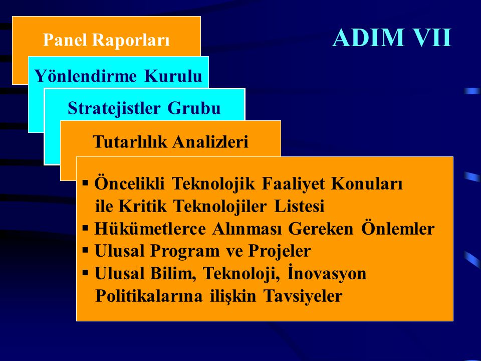 ADIM VII Panel Raporları Yönlendirme Kurulu Stratejistler Grubu Tutarlılık Analizleri  Öncelikli Teknolojik Faaliyet Konuları ile Kritik Teknolojiler Listesi  Hükümetlerce Alınması Gereken Önlemler  Ulusal Program ve Projeler  Ulusal Bilim, Teknoloji, İnovasyon Politikalarına ilişkin Tavsiyeler