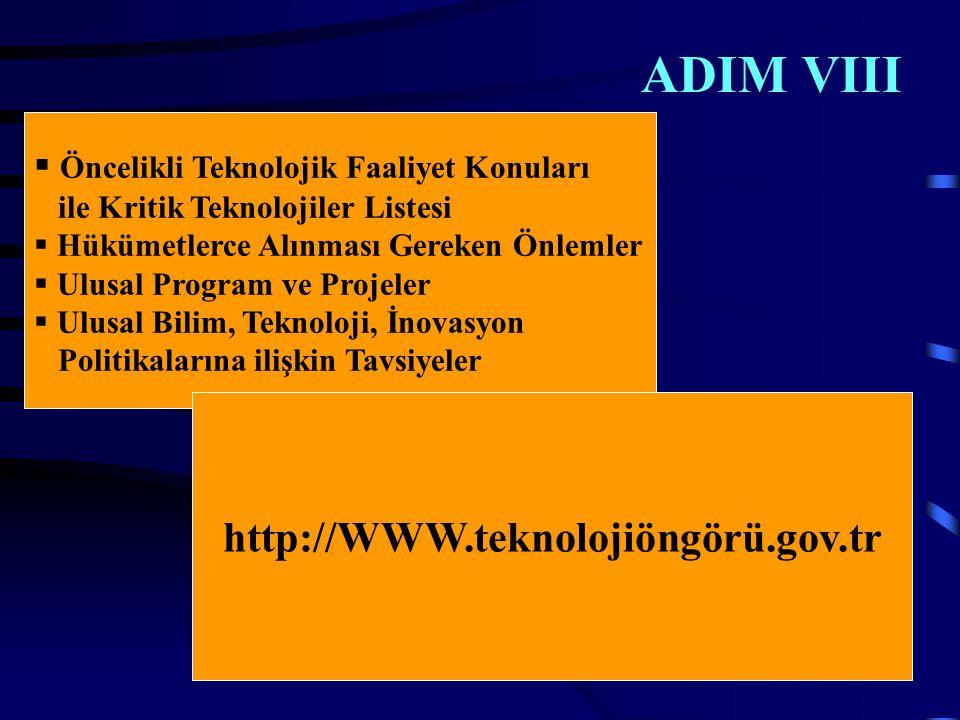 ADIM VIII  Öncelikli Teknolojik Faaliyet Konuları ile Kritik Teknolojiler Listesi  Hükümetlerce Alınması Gereken Önlemler  Ulusal Program ve Projeler  Ulusal Bilim, Teknoloji, İnovasyon Politikalarına ilişkin Tavsiyeler http://WWW.teknolojiöngörü.gov.tr