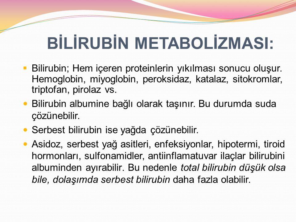 Hemolitik olmayan nedenler Özellikleri: Konjuge olmamış (indirekt bilirubin) artar, Retikülositoz olmaz Ekstravasküler nedenler: sefalhematom, merkezi sinir sistemi kanaması, yutulmuş kan Polisitemi: fetal-maternal transfüzyon, kordun geç kleplenmesi, ikiz-ikiz transfüzyon Bilirubinin enterohepatik dolaşımında artış: ileal atrezi, yetersiz beslenme, anne sütü sarılığı, pilor stenozu, Hirschsprung s hastalığı.