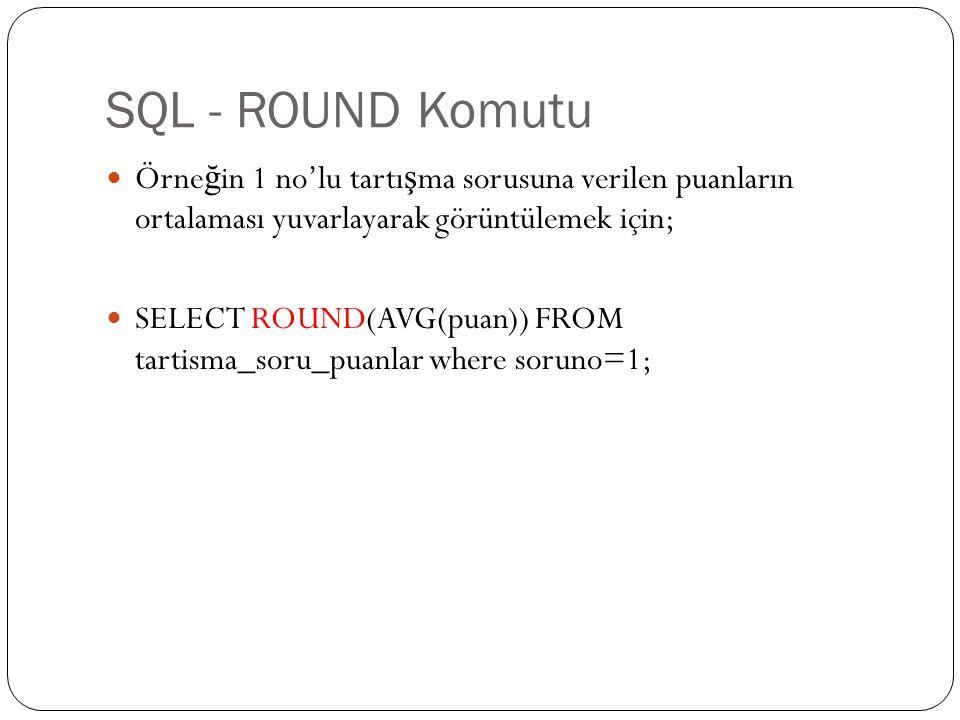 SQL - ROUND Komutu Örne ğ in 1 no'lu tartı ş ma sorusuna verilen puanların ortalaması yuvarlayarak görüntülemek için; SELECT ROUND(AVG(puan)) FROM tar
