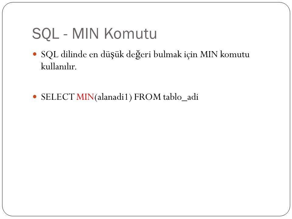 SQL - MIN Komutu SQL dilinde en dü ş ük de ğ eri bulmak için MIN komutu kullanılır. SELECT MIN(alanadi1) FROM tablo_adi