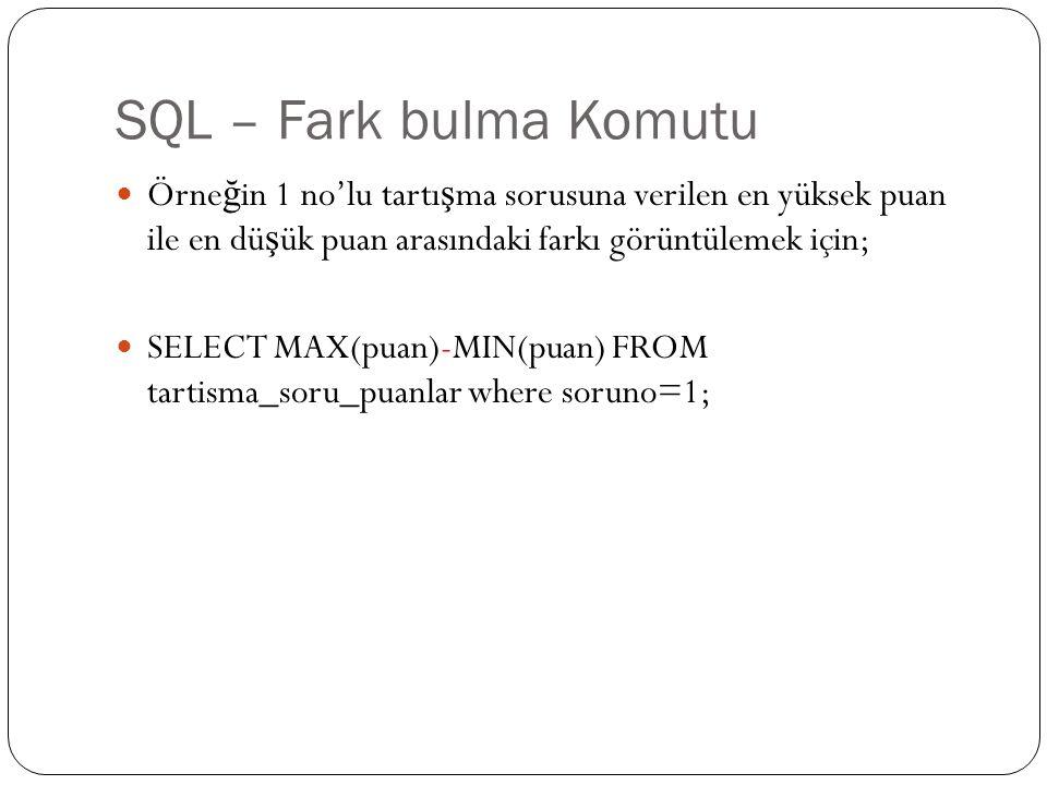 SQL – Fark bulma Komutu Örne ğ in 1 no'lu tartı ş ma sorusuna verilen en yüksek puan ile en dü ş ük puan arasındaki farkı görüntülemek için; SELECT MA
