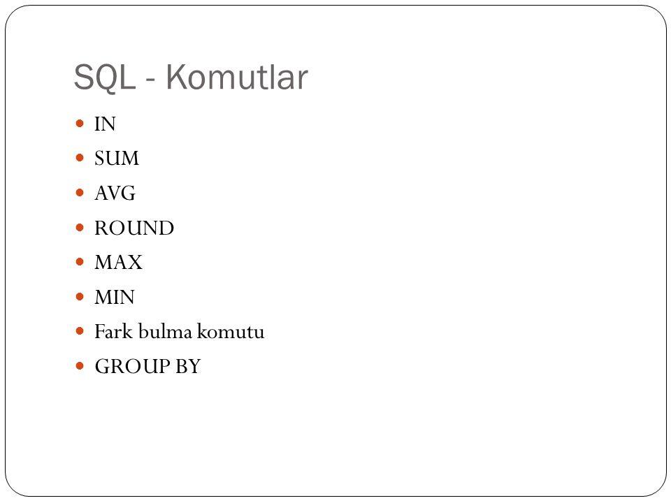 SQL - Komutlar IN SUM AVG ROUND MAX MIN Fark bulma komutu GROUP BY