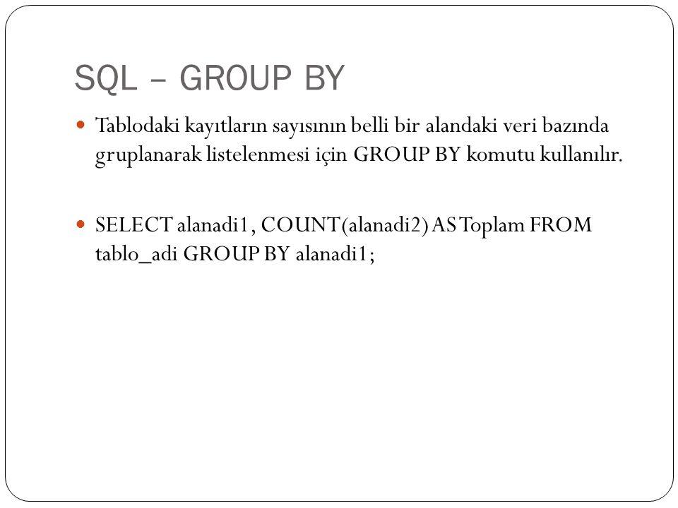 SQL – GROUP BY Tablodaki kayıtların sayısının belli bir alandaki veri bazında gruplanarak listelenmesi için GROUP BY komutu kullanılır. SELECT alanadi