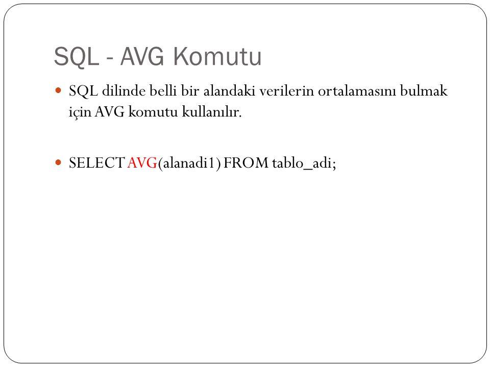 SQL - AVG Komutu SQL dilinde belli bir alandaki verilerin ortalamasını bulmak için AVG komutu kullanılır. SELECT AVG(alanadi1) FROM tablo_adi;
