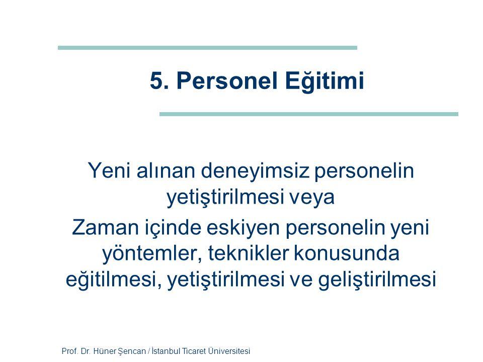 Prof. Dr. Hüner Şencan / İstanbul Ticaret Üniversitesi 5. Personel Eğitimi Yeni alınan deneyimsiz personelin yetiştirilmesi veya Zaman içinde eskiyen