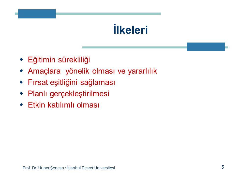 Prof. Dr. Hüner Şencan / İstanbul Ticaret Üniversitesi 5  Eğitimin sürekliliği  Amaçlara yönelik olması ve yararlılık  Fırsat eşitliğini sağlaması