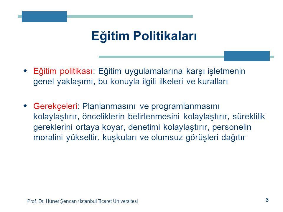Prof. Dr. Hüner Şencan / İstanbul Ticaret Üniversitesi 6  Eğitim politikası: Eğitim uygulamalarına karşı işletmenin genel yaklaşımı, bu konuyla ilgil