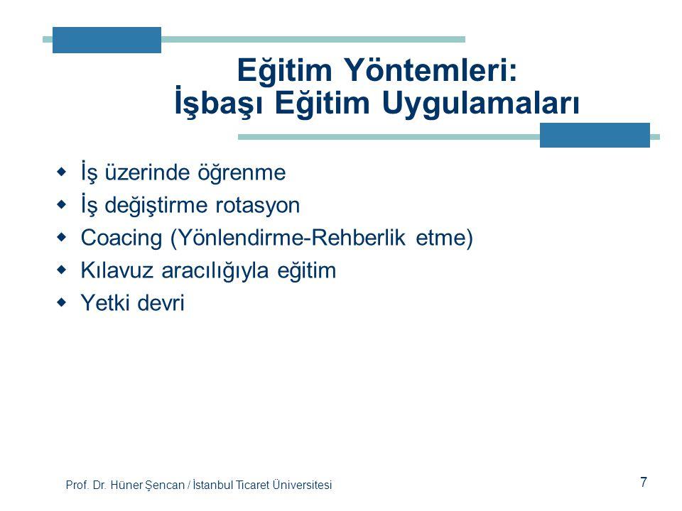 Prof. Dr. Hüner Şencan / İstanbul Ticaret Üniversitesi  İş üzerinde öğrenme  İş değiştirme rotasyon  Coacing (Yönlendirme-Rehberlik etme)  Kılavuz