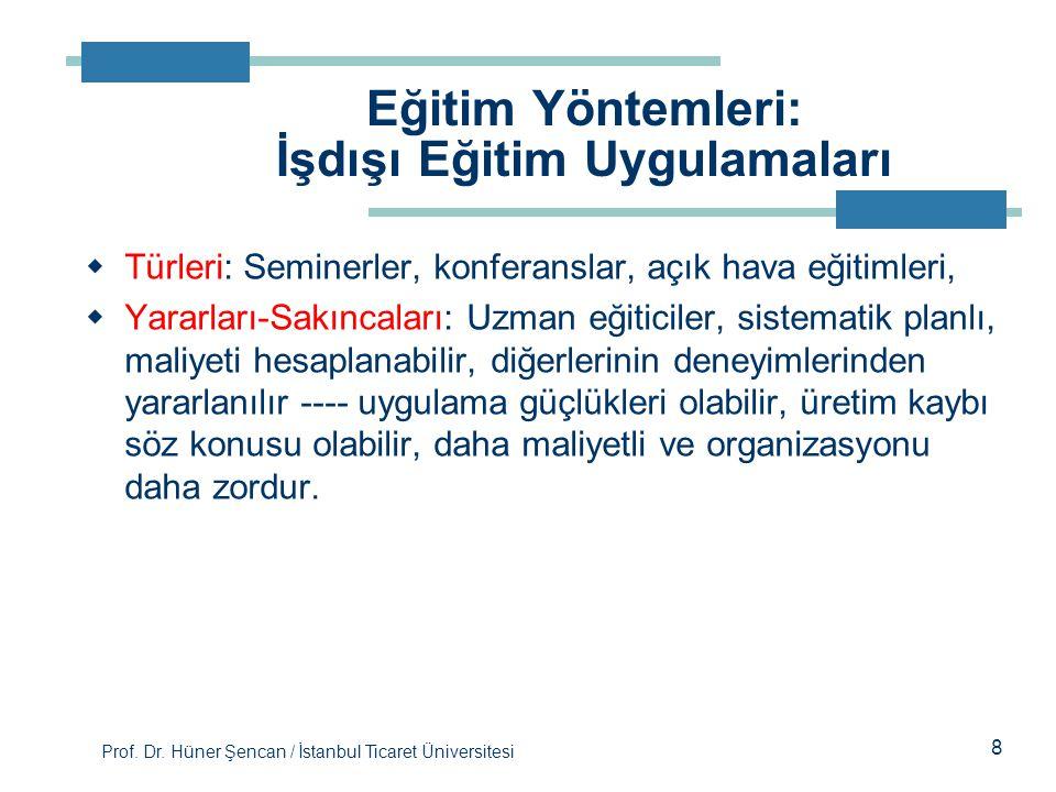 Prof. Dr. Hüner Şencan / İstanbul Ticaret Üniversitesi  Türleri: Seminerler, konferanslar, açık hava eğitimleri,  Yararları-Sakıncaları: Uzman eğiti