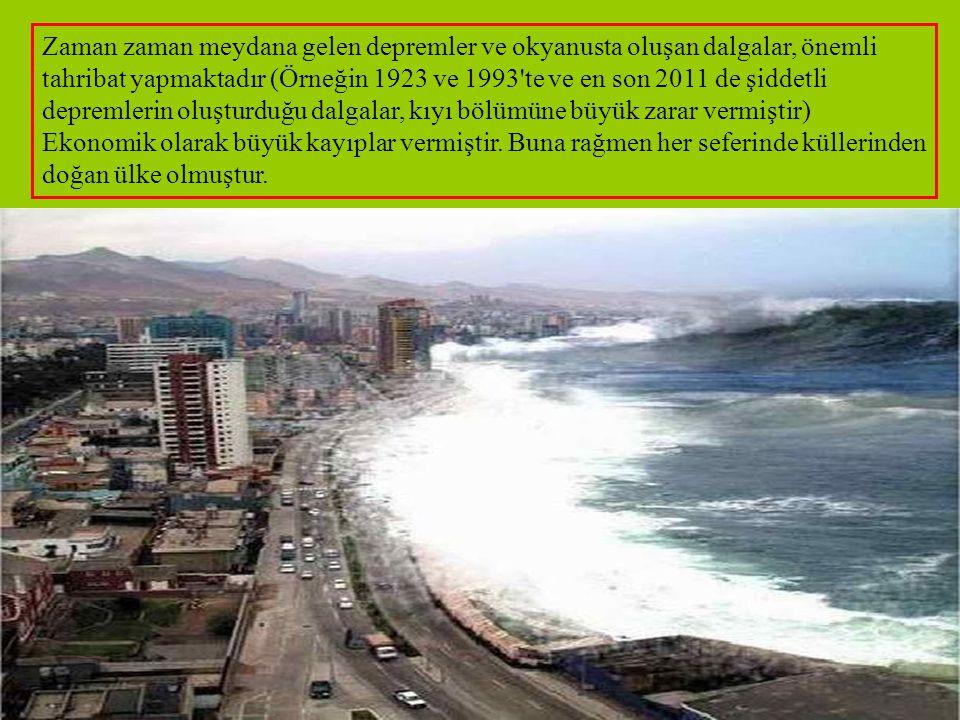 Zaman zaman meydana gelen depremler ve okyanusta oluşan dalgalar, önemli tahribat yapmaktadır (Örneğin 1923 ve 1993 te ve en son 2011 de şiddetli depremlerin oluşturduğu dalgalar, kıyı bölümüne büyük zarar vermiştir) Ekonomik olarak büyük kayıplar vermiştir.
