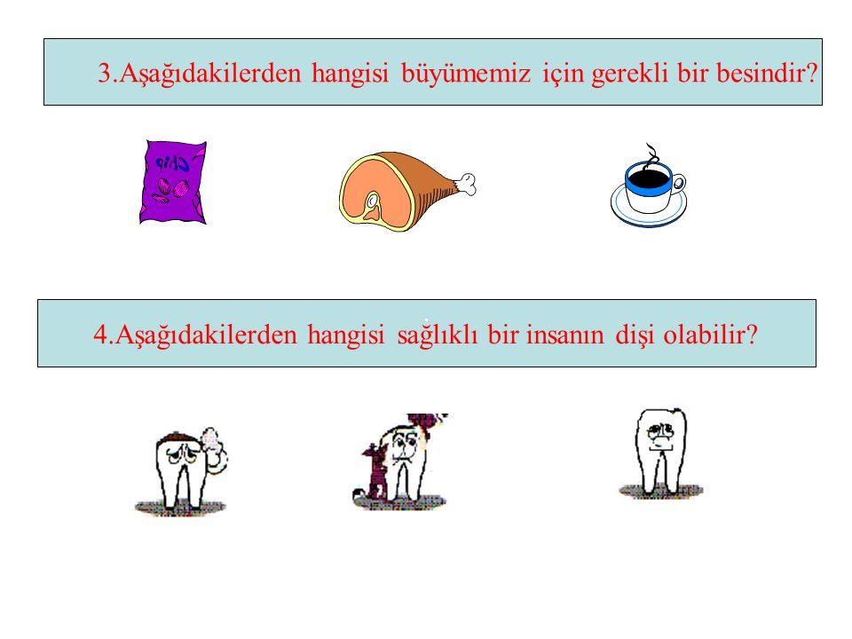 DEĞERLENDİRME 1.Aşağıdakilerden hangisi günlük yememiz gereken besinlerdendir? 2.Aşağıdaki besinlerden hangisi bizi hastalıklara karşı korur?