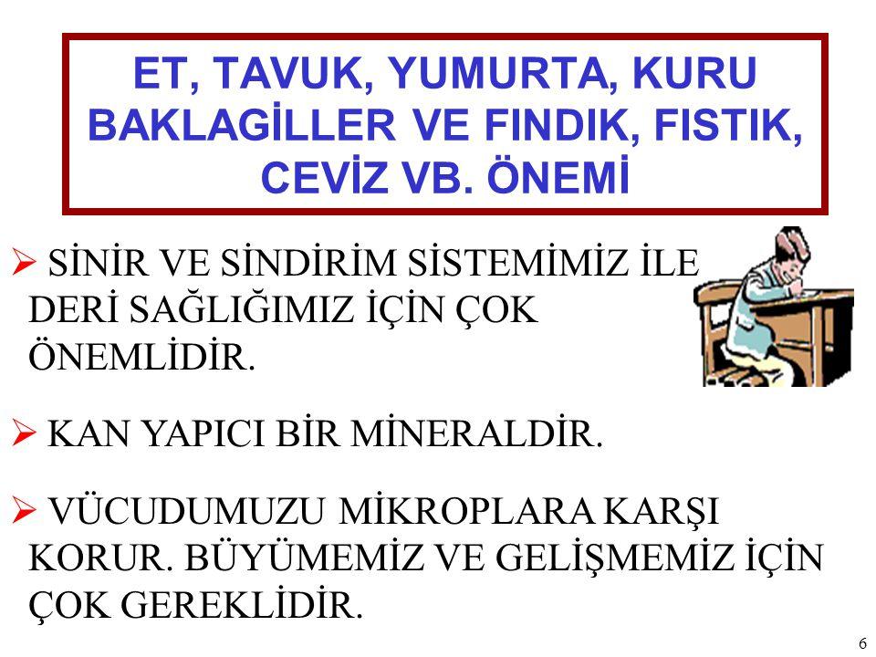 ET, TAVUK, YUMURTA, KURU BAKLAGİLLER VE FINDIK, FISTIK, CEVİZ VB.