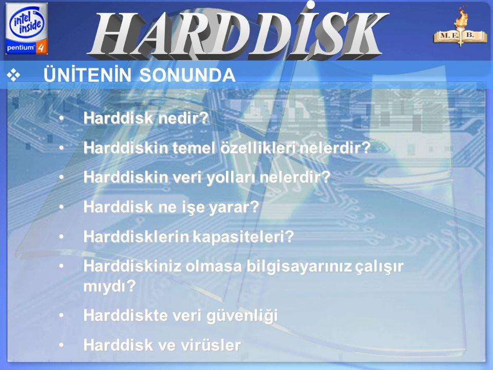  ÜNİTENİN SONUNDA Harddisk nedir Harddisk nedir.