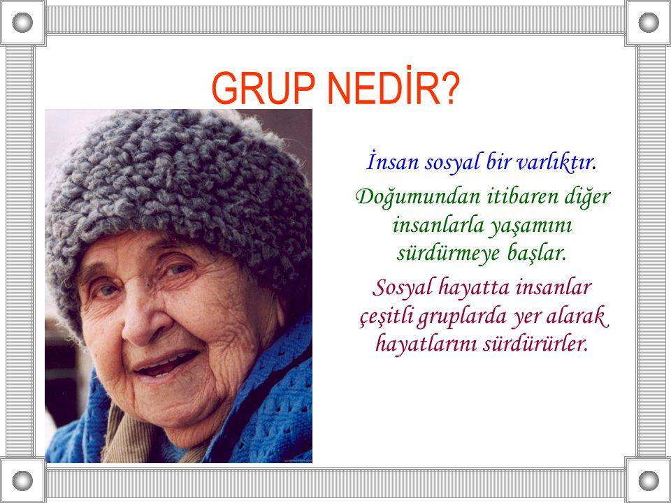 GRUP NEDİR.İnsan sosyal bir varlıktır.
