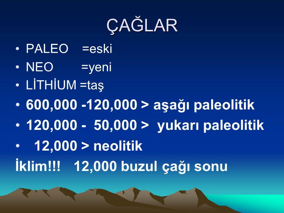 ÇAĞLAR PALEO =eski NEO =yeni LİTHİUM =taş 600,000 -120,000 > aşağı paleolitik 120,000 - 50,000 > yukarı paleolitik 12,000 > neolitik İklim!!.