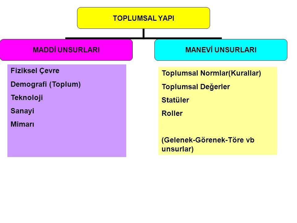 TOPLUMSAL YAPI MADDİ UNSURLARI MANEVİ UNSURLARI Toplumsal Normlar(Kurallar) Toplumsal Değerler Statüler Roller (Gelenek-Görenek-Töre vb unsurlar) Fizi