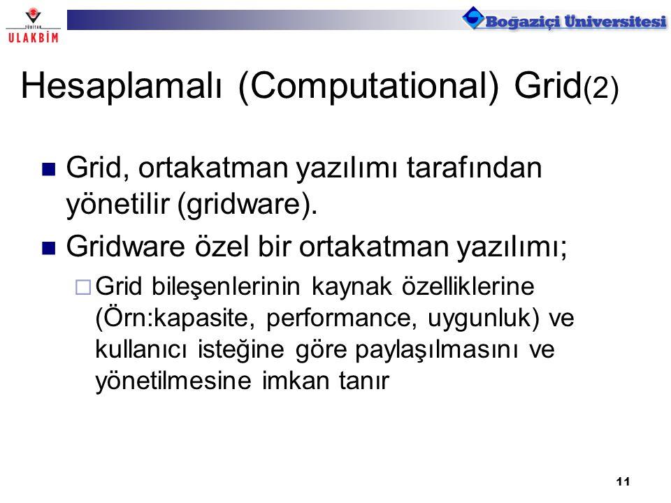 11 Grid, ortakatman yazılımı tarafından yönetilir (gridware). Gridware özel bir ortakatman yazılımı;  Grid bileşenlerinin kaynak özelliklerine (Örn:k